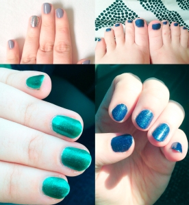 """Here's how the colors looked on me! From top left to bottom right: Dramatic, Tide (without top coat, it makes it a matte """"Sea Glass"""" texture), Prismatic, Tide."""