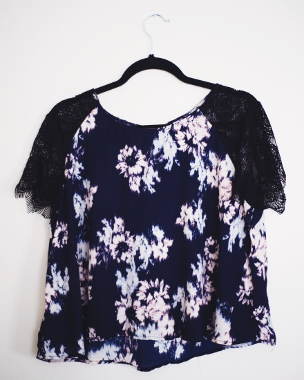 Floral Print Target Top with Lace Sleeves